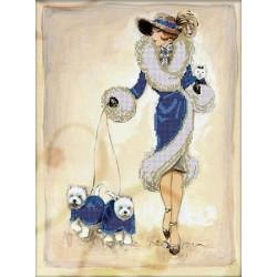 Прогулка в синем, ткань с рисунком для вышивания бисером 40х30 см, GLURIYA