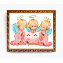 Три ангелочка, ткань с рисунком для вышивки бисером 15х19см, Art Solo