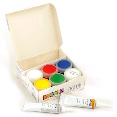Набор красок по ткани акриловых 5х20мл+разбавитель 20мл+2 контура 18мл Decola +t!