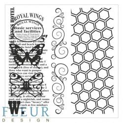 Винтаж с бабочками Фоновые, набор штампов 10,5х10,5см