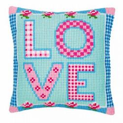 LOVE, подушка для вышивания, канва 100% хлопок, нитки 100% акрил 40х40 см