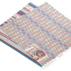 Бумага для скрапбукинга 30,5х30,5 см 180 гр/м двусторонняя Старый цирк Фейерверк