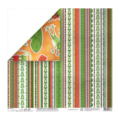 Бумага для скрапбукинга 30.5x30.5 см двусторонняя Лягушка, Mr.Painter