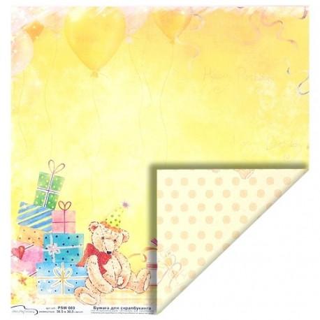 Бумага для скрапбукинга 190 г/м2, 30.5x30.5 см День Рождения, Mr.Painter