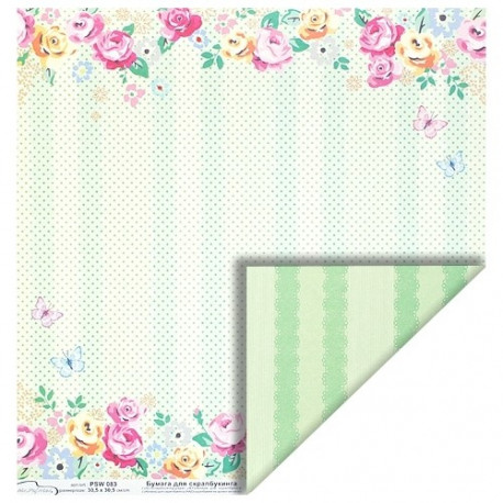 Бумага для скрапбукинга 190 г/м2, 30.5x30.5 см Розочки, Mr.Painter