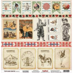 Волшебная колода Старый цирк, лист односторонней бумаги 30х30см, 190гр/м