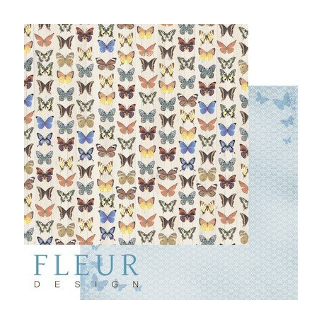 Бабочки, коллекция Летний сад, бумага для скрапбукинга 30x30см, 190г/м Fleur Design