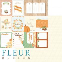 Карточки, коллекция Дыхание осени, бумага для скрапбукинга 30x30см, 190г/м Fleur Design
