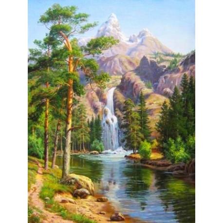 Горный водопад, набор для изготовления картины стразами 30х40см 26цв. полная выкладка АЖ