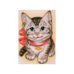 Кот с бантом, набор для изготовления картины стразами 25х35см 19цв. полная выкладка АЖ