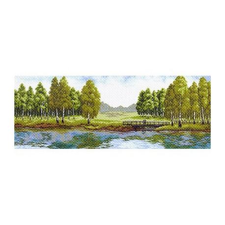 Летний полдень, канва с рисунком для вышивки нитками 40х90см. Матрёнин посад