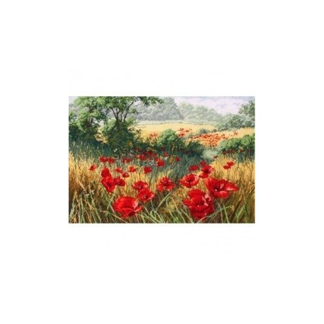 Маковое поле, набор для изготовления картины стразами 38х27см 28цв. полная выкладка Гранни