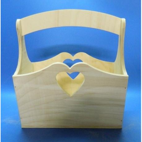 Корзинка с сердечками 20*14*21см, деревянная заготовка фанера 6мм