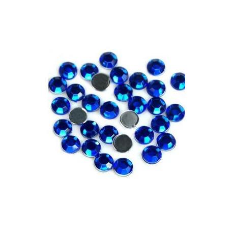 Синий, стразы клеевые  цветные  2.4 мм, акрил, 144 шт, Zlatka