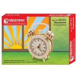 Будильник, пазл 3D (деревянный конструктор), фанера 3мм, 15x6.8x20 см 82 элемента. Rezark