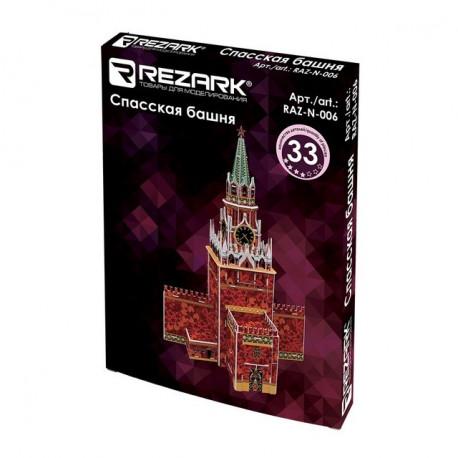 Спасская башня пазл 3D, пенополистирол 26x15.5x37.5см 33элемента Rezark