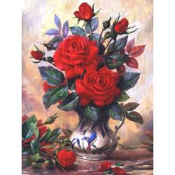 Прекрасные розы, набор для изготовления картины стразами 30х40см 27цв. полная выкладка АЖ