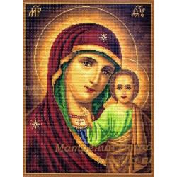 Казанская Божия Матерь икона, канва с рисунком для вышивки нитками 37х49см. Матрёнин посад