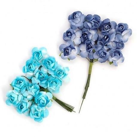 Цветы бумажные бирюзово-синие 24шт. MAGIC HOBBY