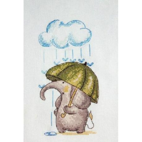 Весенний слоник, набор для вышивания крестом 9х17см мулине Finca 10цв. канва Linda 27ct Neocraft