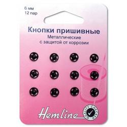 Кнопки пришивные металлические,  цв.черный, 6 мм, 12 шт
