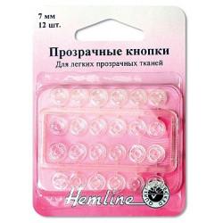 Кнопки пришивные прозрачные, нейлон 7 мм, 12 шт