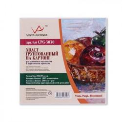 Мелкозернистый холст на картоне, 100% хлопок, 30х30см, 280 г/кв.м. Vista-Artista