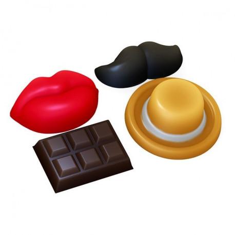 Усы, губы, шоколадка, шляпа, пластиковая форма для мыла 1шт-20-30г средний р-р 20х20мм PC