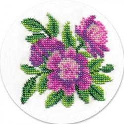 Пионы, набор для вышивания бисером, 12х12см, 10цветов Кларт