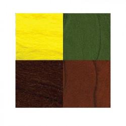 Ассорти №2, набор шерсти для валяния, 100%  мериносовая шерсть, 4х10гр. Gamma