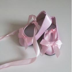 Балетки розовые атласные, длина стопы 7,5см. Кукольная обувь
