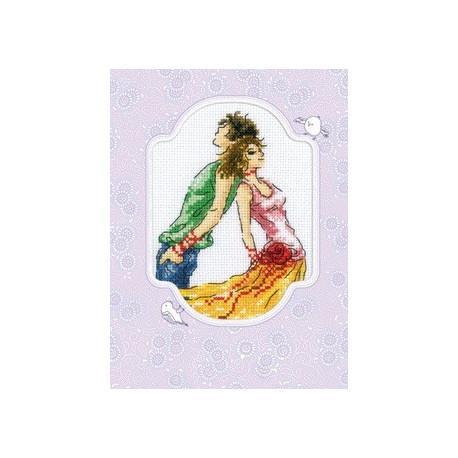 Мечты юности, набор для вышивания крестиком-открытка, 10х13см, мулине DMC хлопок PTO