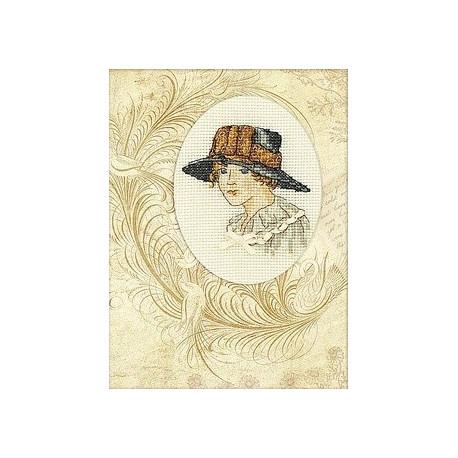 Прекрасная незнакомка, набор для вышивания крестиком-открытка, 9х12см, мулине DMC хлопок PTO