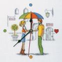 Встреча под зонтом, набор для вышивания крестиком с часами, 25х25см, мулине DMC хлопок PTO
