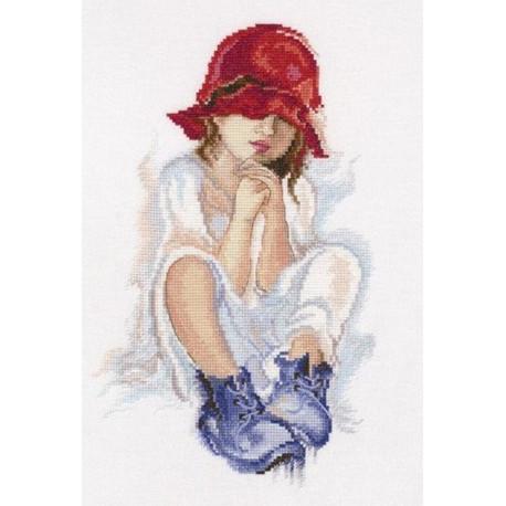 Мечтающая девочка, набор для вышивания крестиком, 18х29см, мулине DMC хлопок PTO
