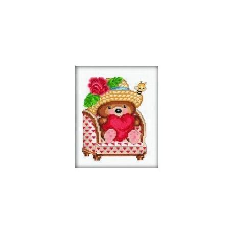 Влюбленный медвежонок, набор для вышивания крестиком, 12х14см, мулине DMC хлопок PTO