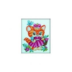 Котёнок и бабочки, набор для вышивания крестиком, 13х16см, мулине DMC хлопок PTO