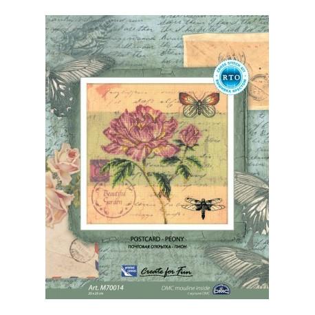Почтовая открытка.Пион, набор для вышивания крестиком, 25х25см, мулине DMC хлопок PTO