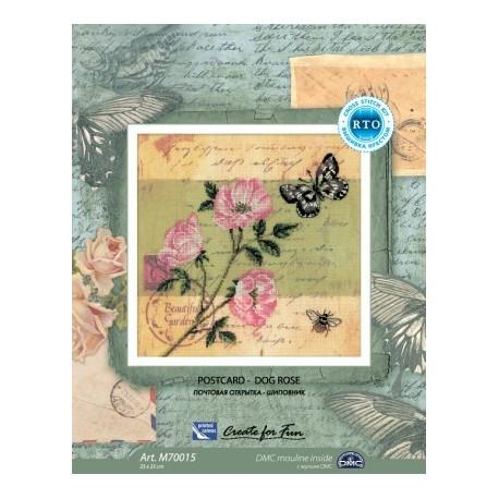 Почтовая открытка.Шиповник, набор для вышивания крестиком, 25х25см, мулине DMC хлопок PTO