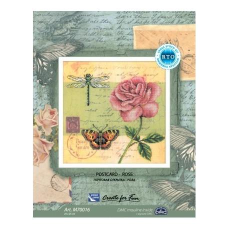 Почтовая открытка.Роза, набор для вышивания крестиком, 25х25см, мулине DMC хлопок PTO