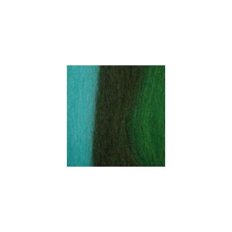 Бирюза/киви/мор. водоросли, шерсть для валяния, 100% мериносовая шерсть 50г