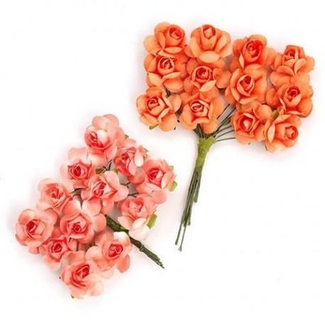 Цветы бумажные оранжево-коралловые 24шт. MAGIC HOBBY