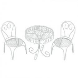 Мебельный гарнитур 3 предмета, металл. Стол 8x7.5 см, 2стула 5.5x9.5 см. Blumentag