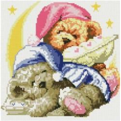 Два медвежонка, набор для изготовления картины стразами 30х30см 19цв. полная выкладка, Белоснежка