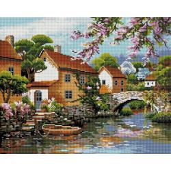 Деревенька у канала, набор для изготовления картины стразами 50х40см 33цв. полн.выкладка, Белоснежка
