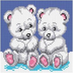 Медвежата, набор для изготовления картины стразами 20х20см 9цв. полная выкладка, Белоснежка