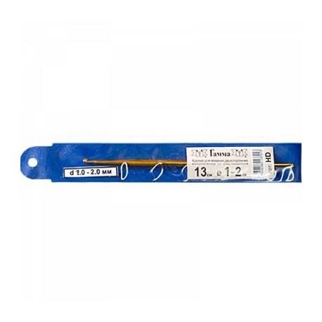 Двухсторонний крючок для вязания  металл d1.0-2.0мм, 13см, металл GAMMA