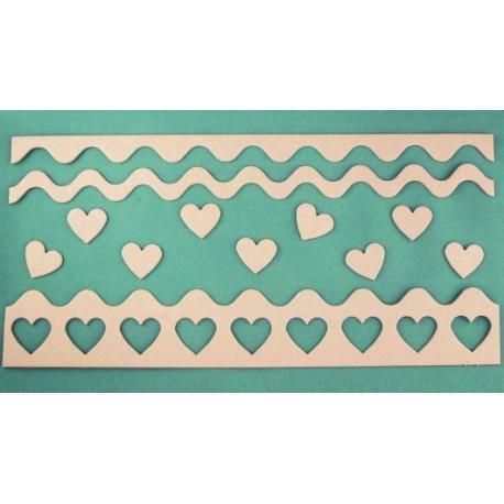 Бордюр с сердечками, вырубка 9сердечек 2,5х2,5см 3бордюра 30см картон 1,5мм ЛЗ