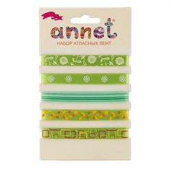 Зеленый, набор атласных лент ширина 10мм, 5шт по 1м , Annet