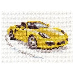 Желтый спорткар, набор для вышивания крестиком, 9х6см, 8цветов Алиса